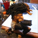 Qenex starts to repair the statue - Painting Pic 1 - A few base coats applied